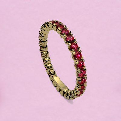 blossom eternity ring - ruby and 18k yellow gold