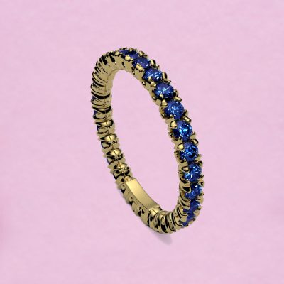 blossom eternity ring - royal blue sapphire and 18k yellow gold