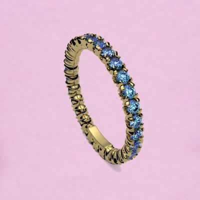blossom eternity ring - cornflower blue sapphire and 18k yellow gold