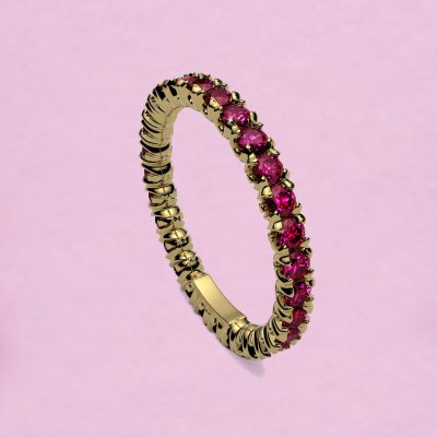 blossom eternity ring - fuchsia pink ruby and 18k yellow gold