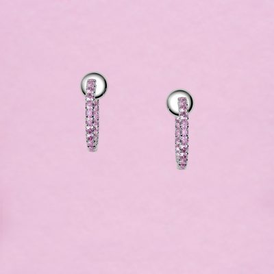 blossom hoop earrings – pink sapphire and 18k white gold
