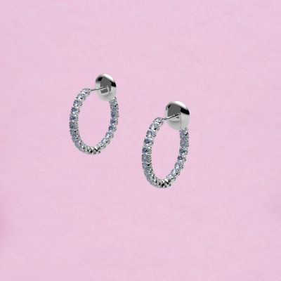 blossom hoop earrings – ice white blue sapphire and 18k white gold
