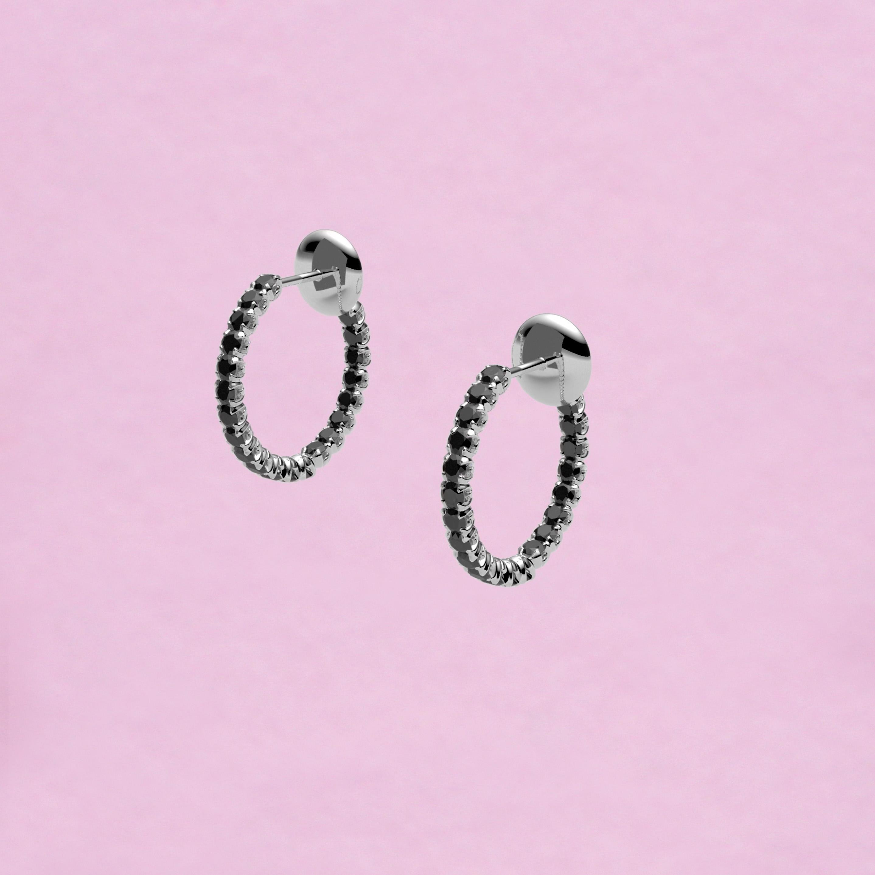 blossom hoop earrings – black diamond and 18k white gold