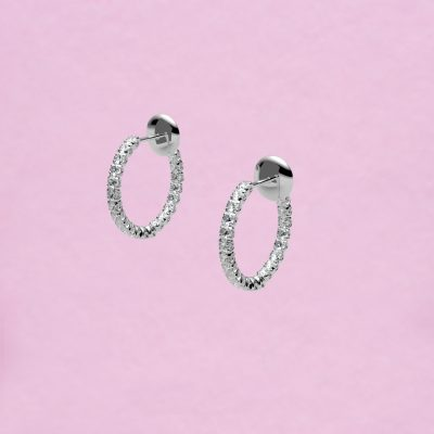 blossom hoop earrings – white diamond and 18k white gold