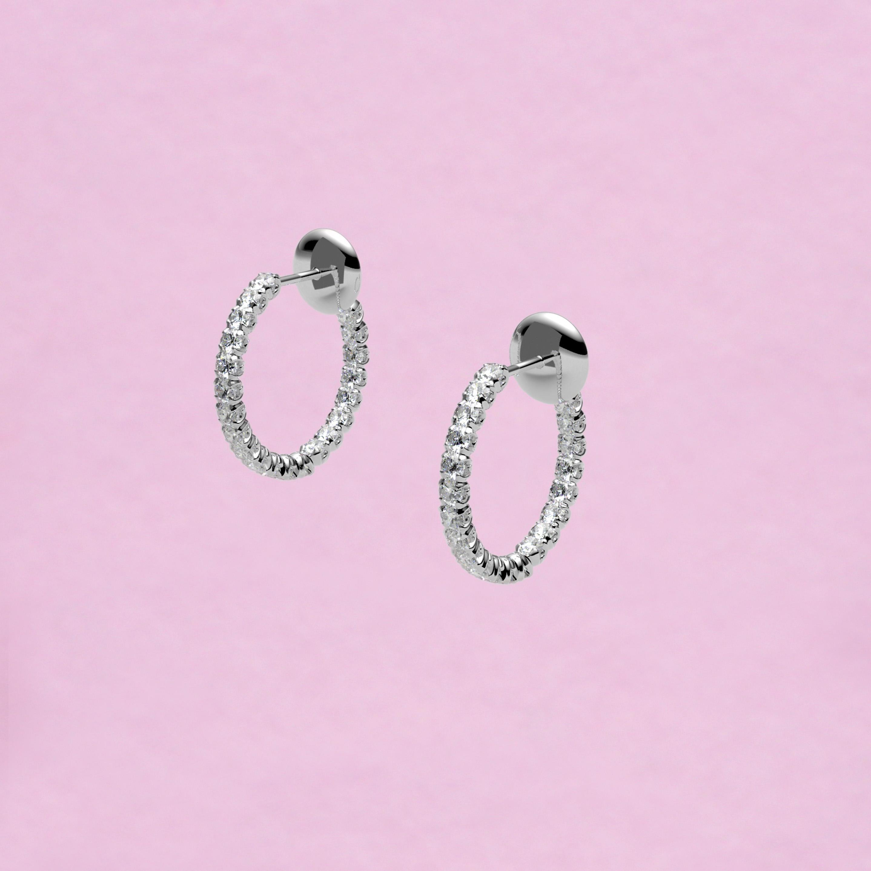 blossom hoop earrings – white diamond and 18k white gold