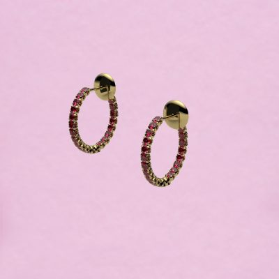 blossom hoop earrings – ruby and 18k yellow gold