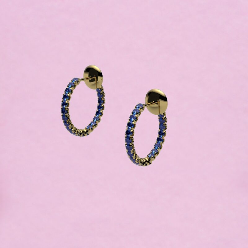 blossom hoop earrings – royal blue sapphire and 18k yellow gold