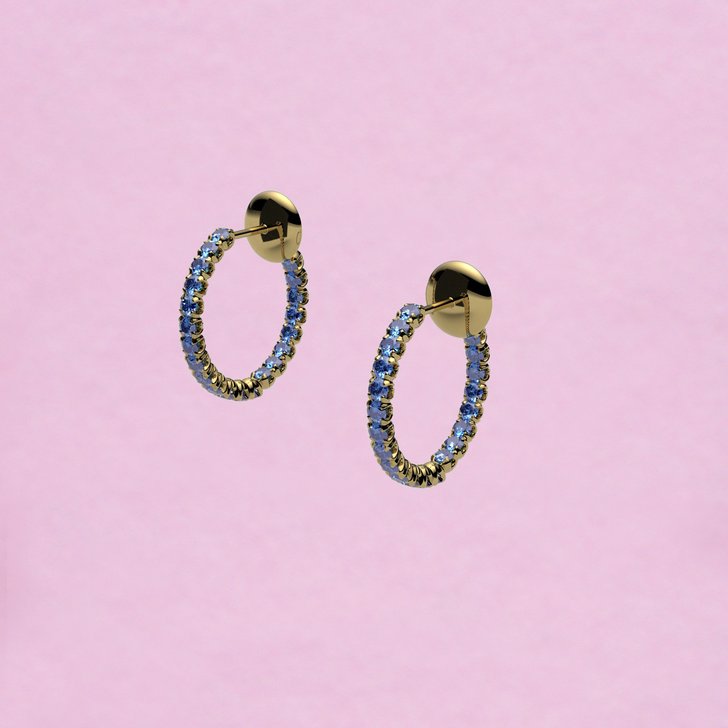 blossom hoop earrings – cornflower sapphire and 18k yellow gold