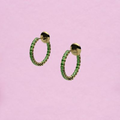 blossom hoop earrings – tsavorite garnet and 18k yellow gold