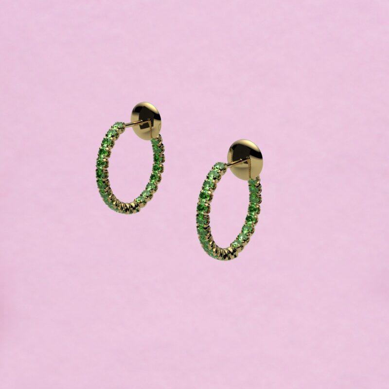 blossom hoop earrings – tsavorite garnet and 18k yellow gold