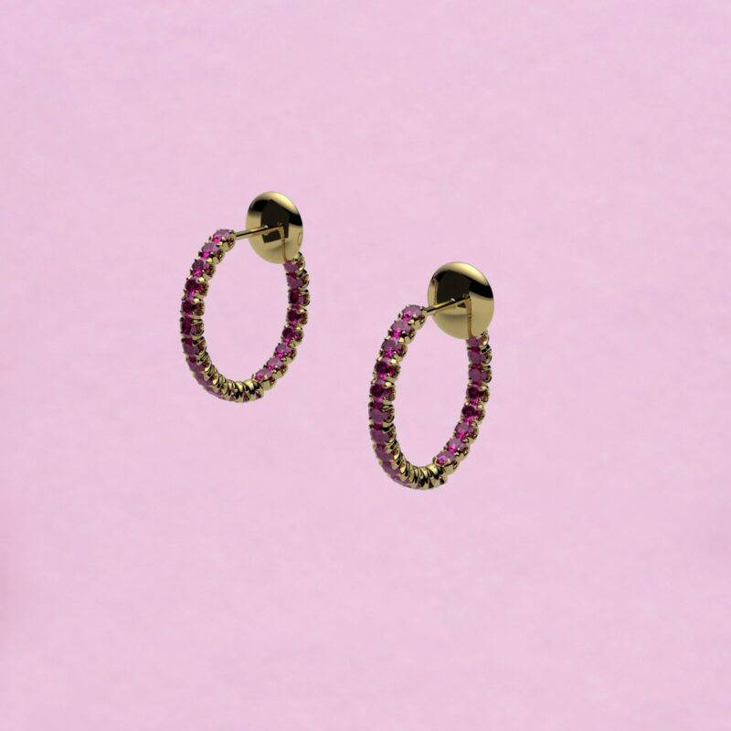 blossom hoop earrings – fuchsia pink ruby and 18k yellow gold