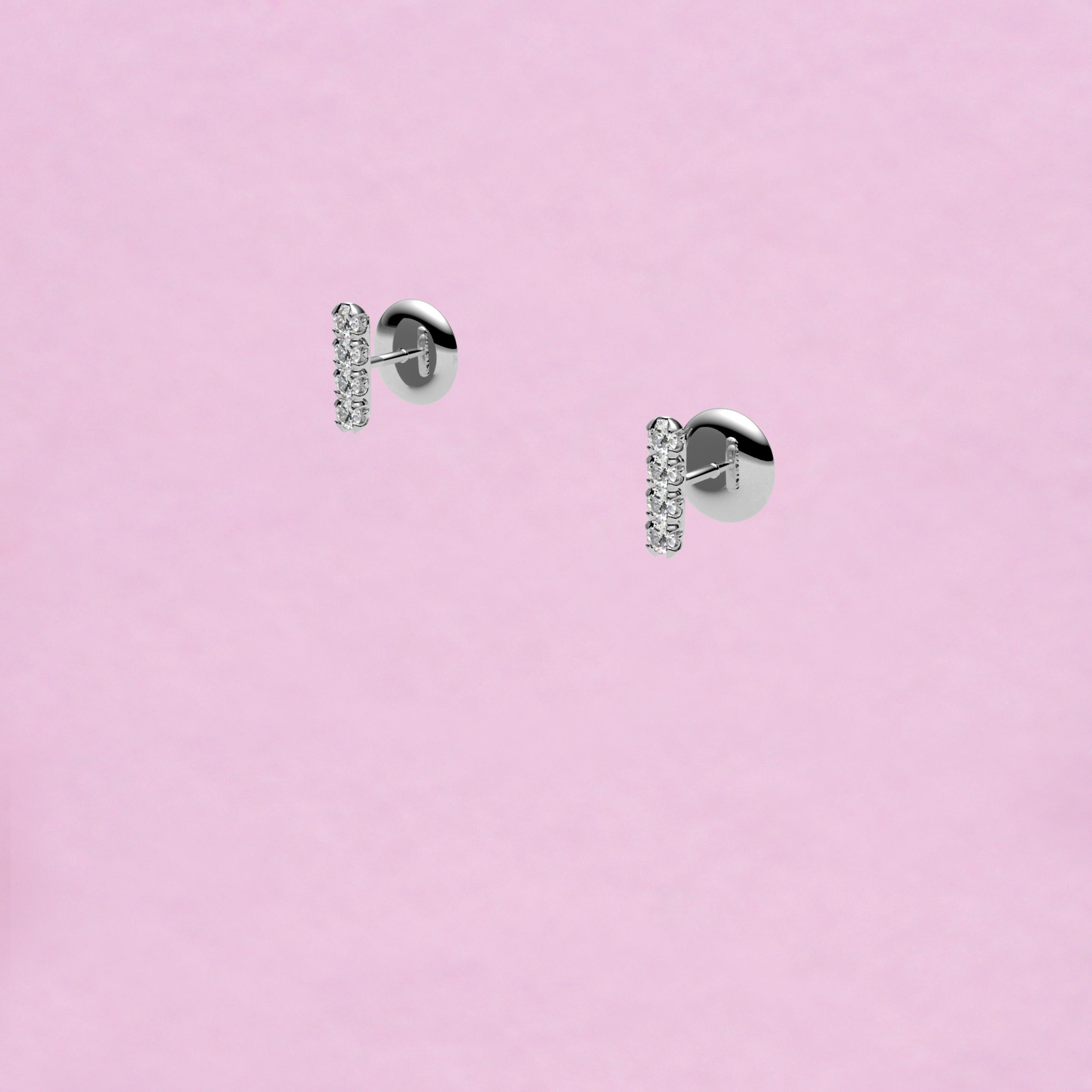 blossom stud earrings – white diamond and 18k white gold