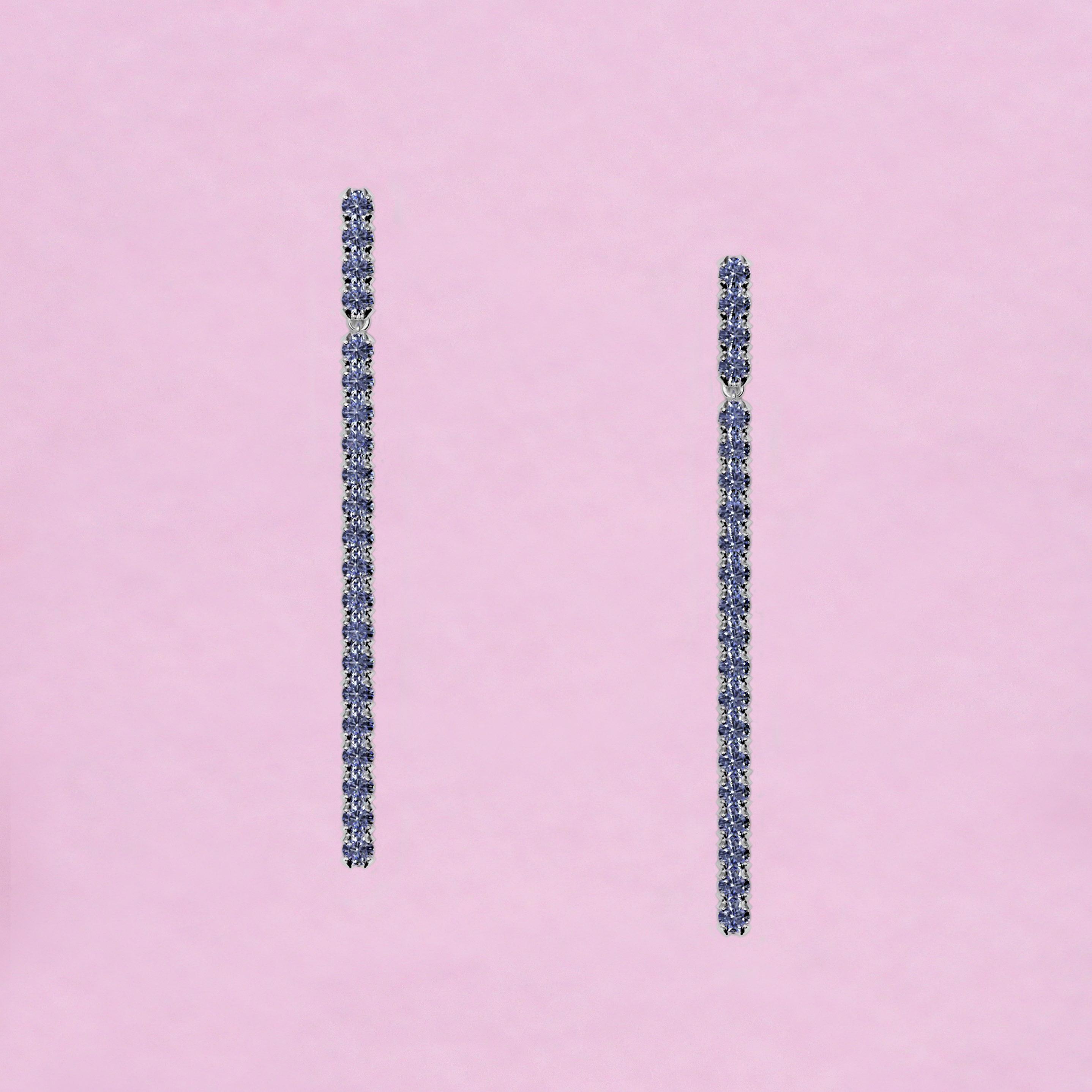 blossom long earrings – sky blue sapphire and 18k white gold