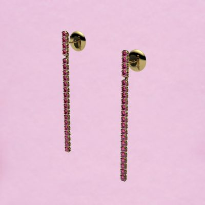 blossom long earrings – pink sapphire and 18k yellow gold