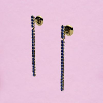 blossom long earrings – royal blue sapphire and 18k yellow gold