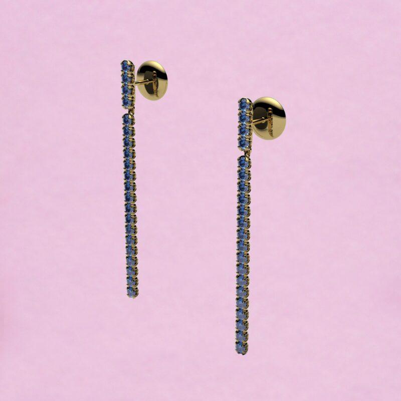 blossom long earrings – cornflower blue sapphire and 18k yellow gold