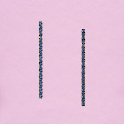 blossom long earrings – cornflower blue sapphire and 18k yellow gold