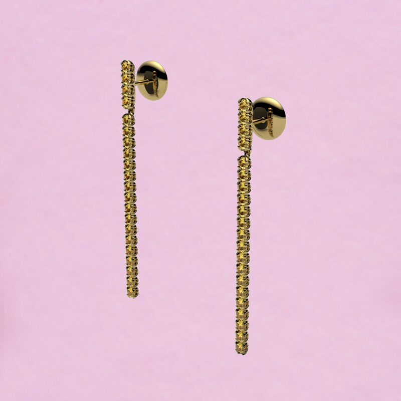 blossom long earrings – yellow sapphire and 18k yellow gold