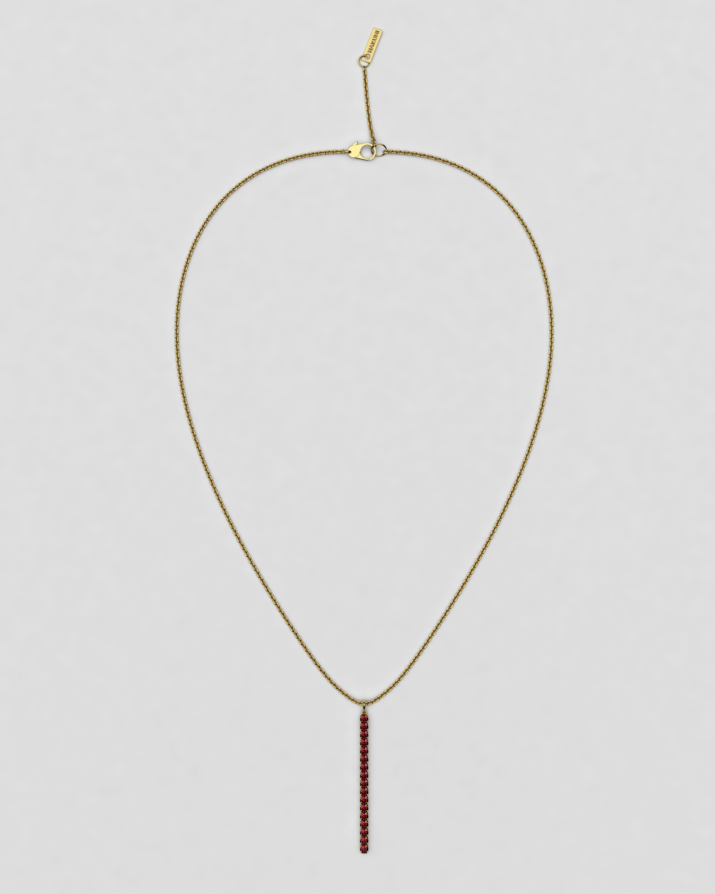 blossom necklace and long pendant  - ruby and 18k yellow gold