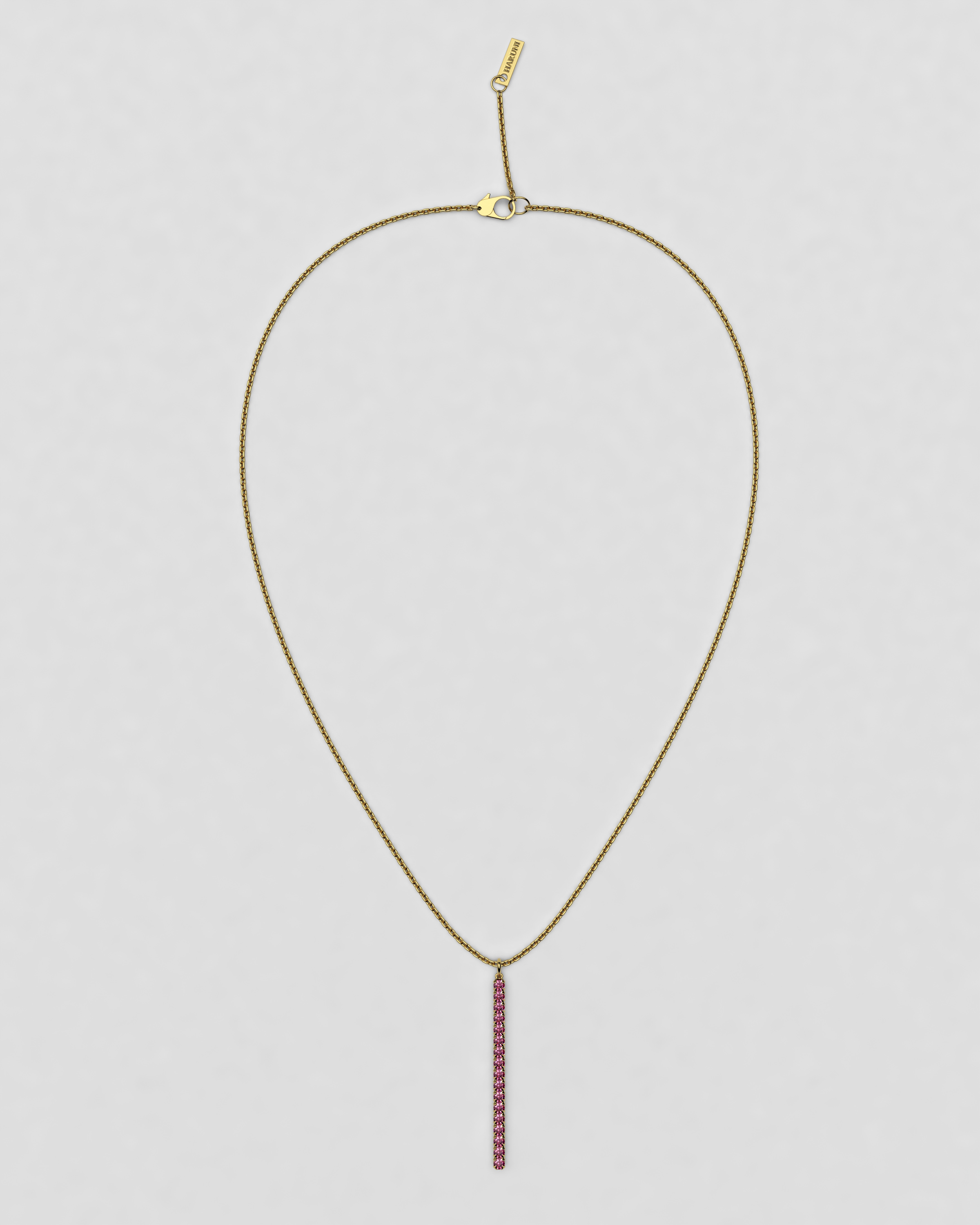 blossom necklace and long pendant  - pink sapphire and 18k yellow gold