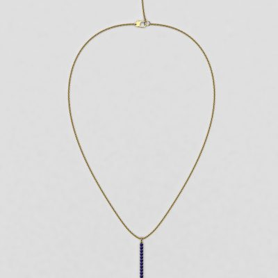 blossom necklace and long pendant  - royal blue sapphire and 18k yellow gold