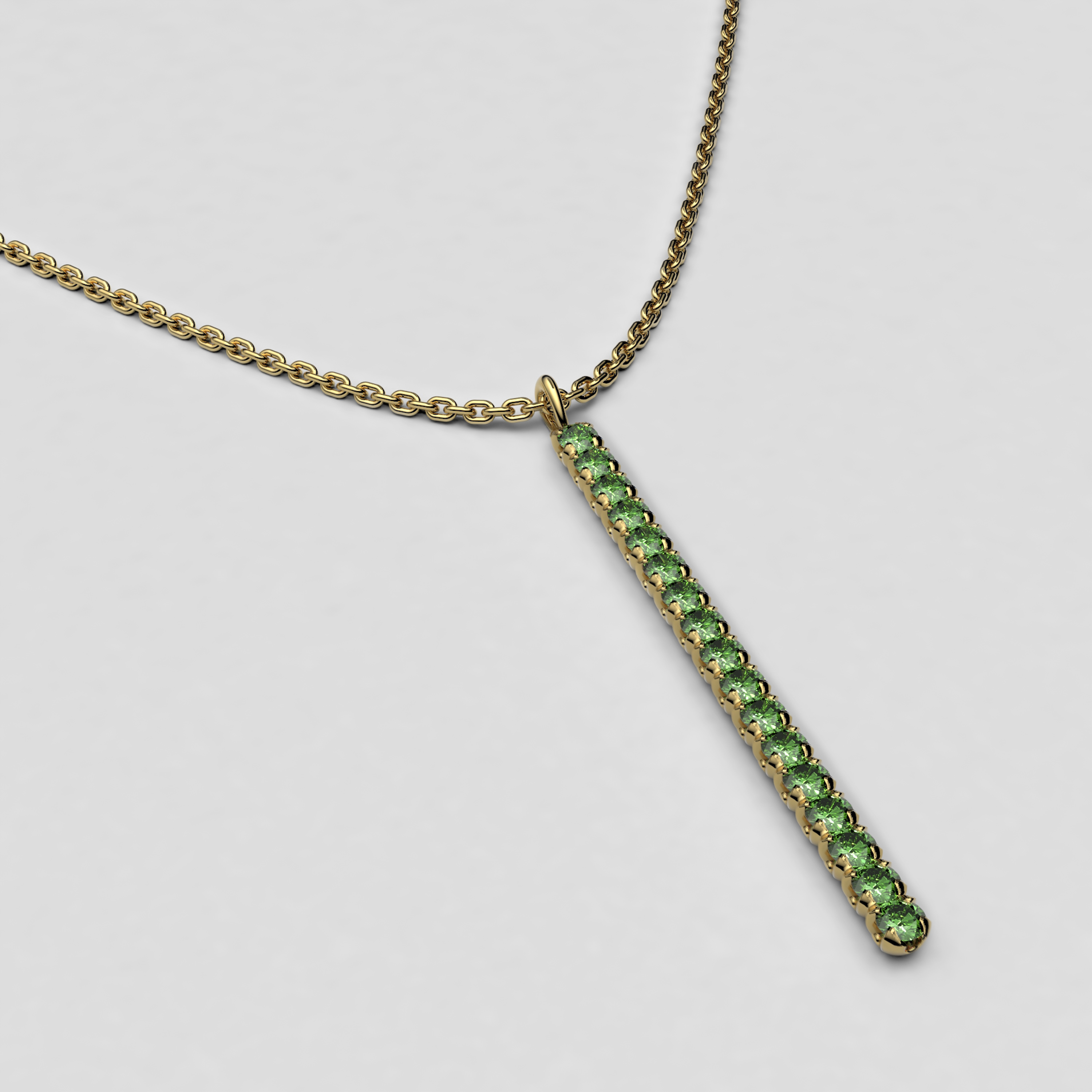 blossom necklace and long pendant  - tsavorite garnet and 18k yellow gold