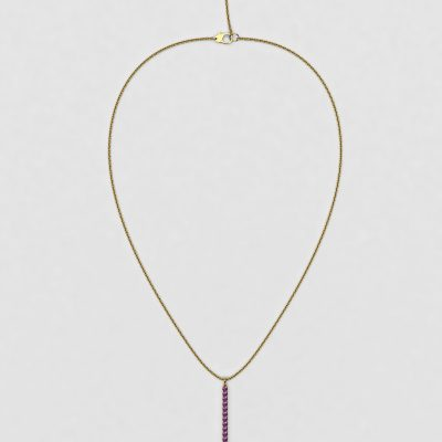 blossom necklace and long pendant  - purple sapphire and 18k yellow gold