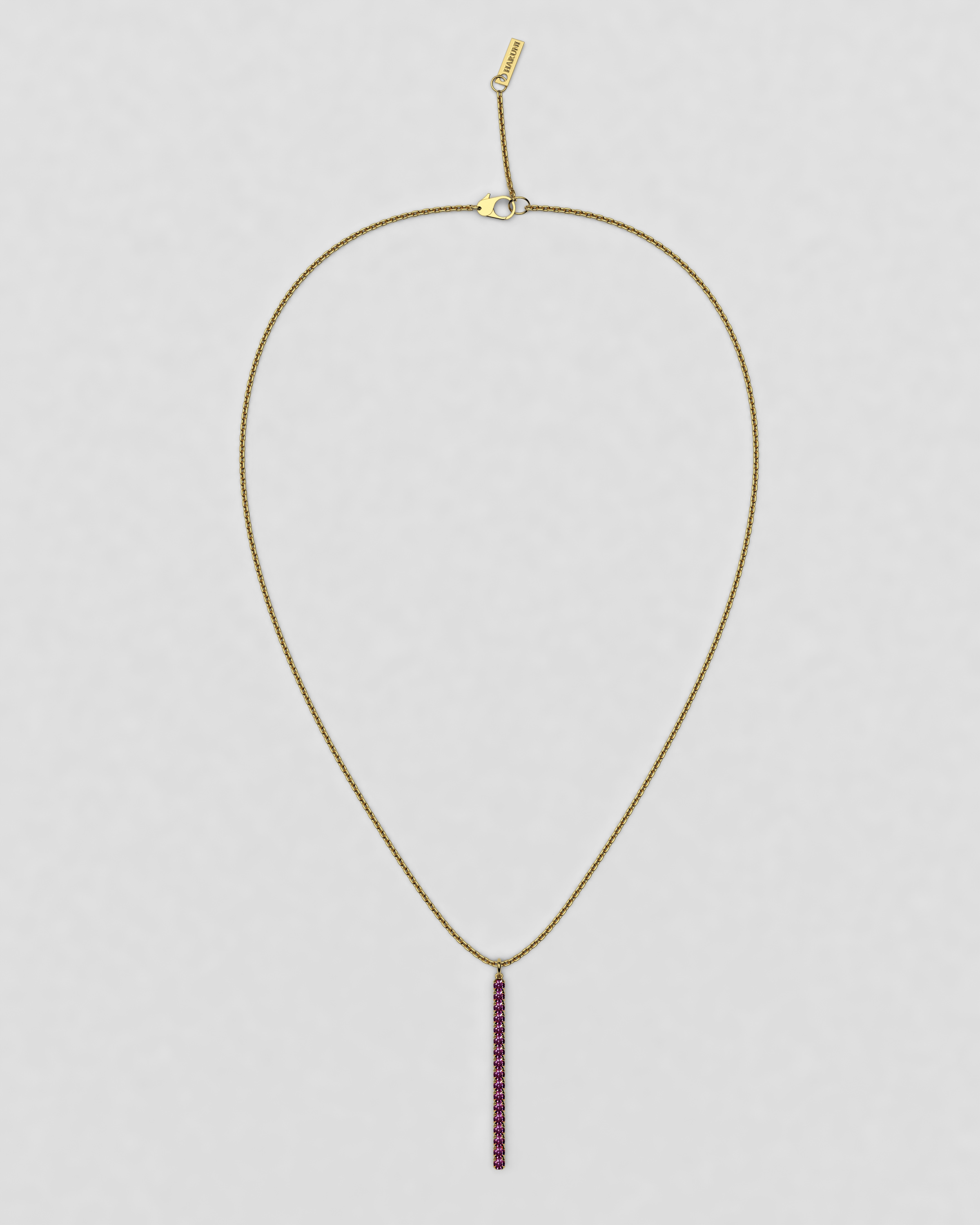 blossom necklace and long pendant  - fuchsia pink ruby and 18k yellow gold