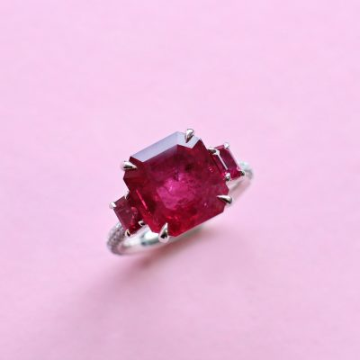 monochrome ruby, diamond and platinum ring