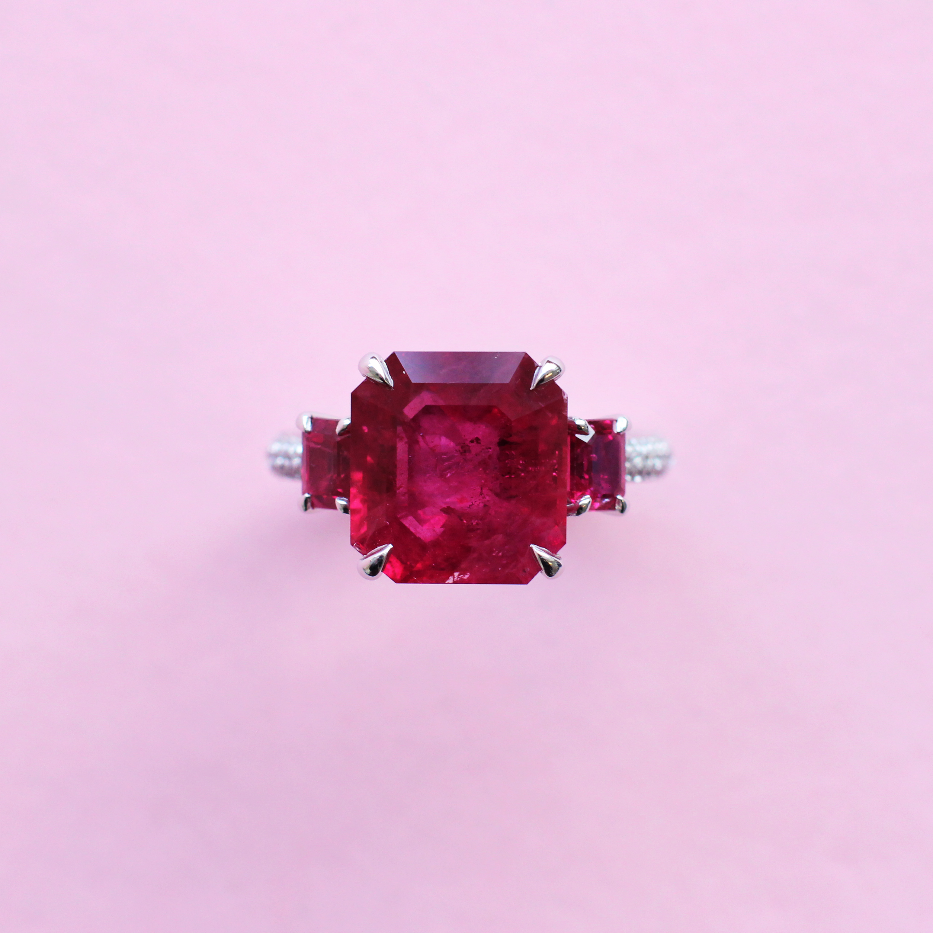 monochrome ruby, diamond and platinum ring