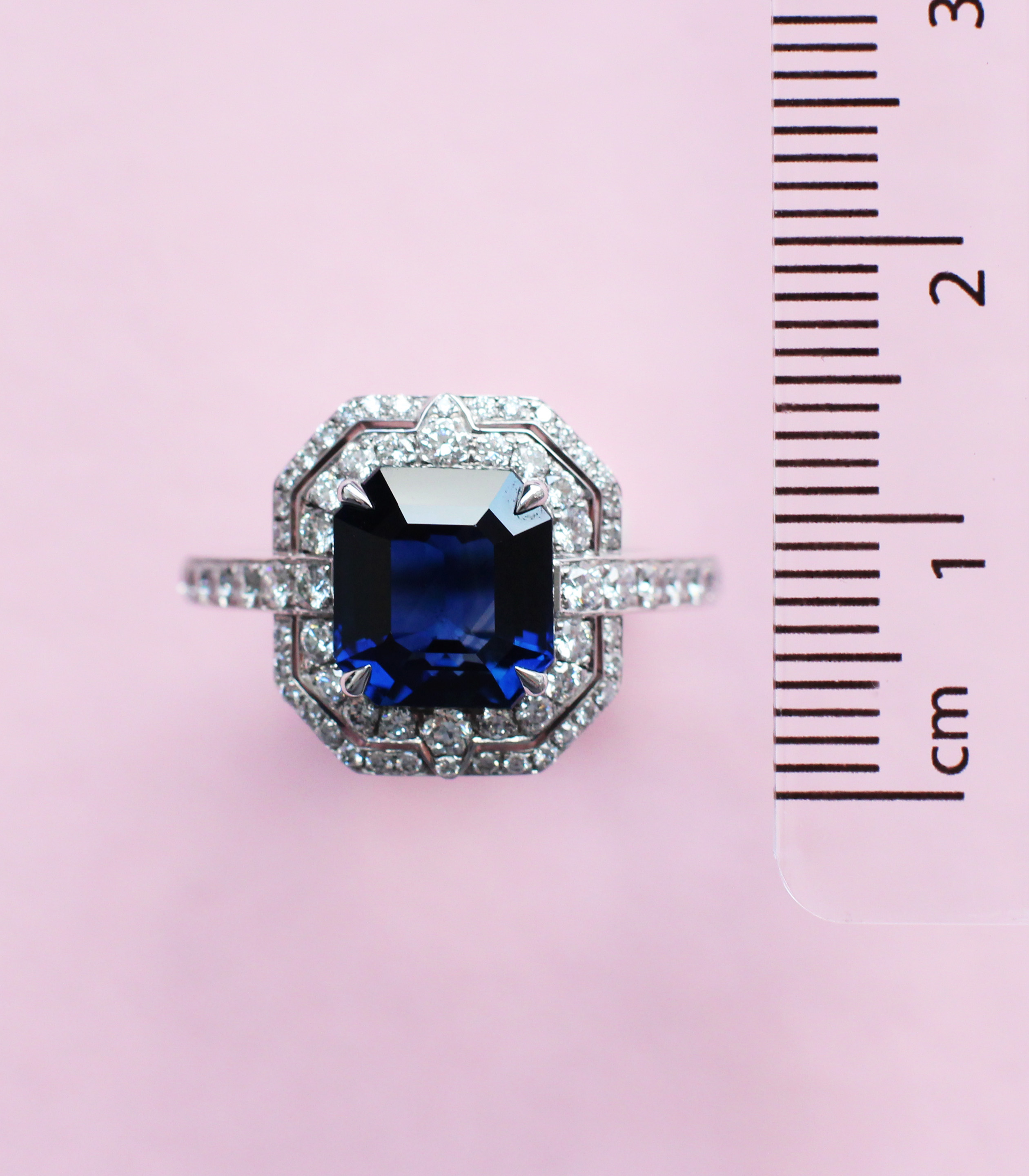 deco sapphire and diamond ring