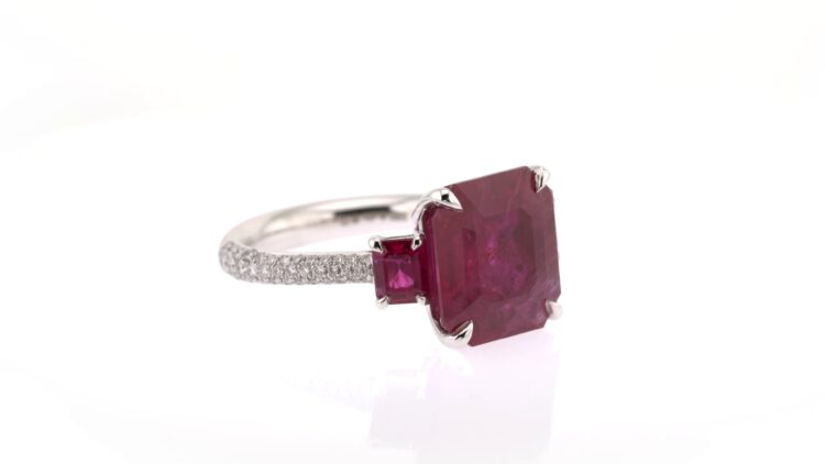 exceptional red ruby and diamond platinum ring