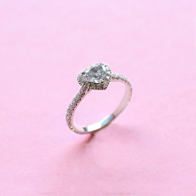 classic halo blue grey heart diamond ring