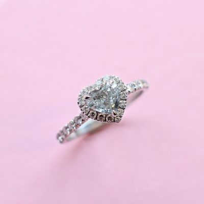 classic halo blue grey heart diamond ring