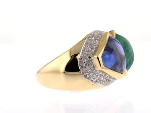 emerald and sapphire cabochon gold and diamond ring