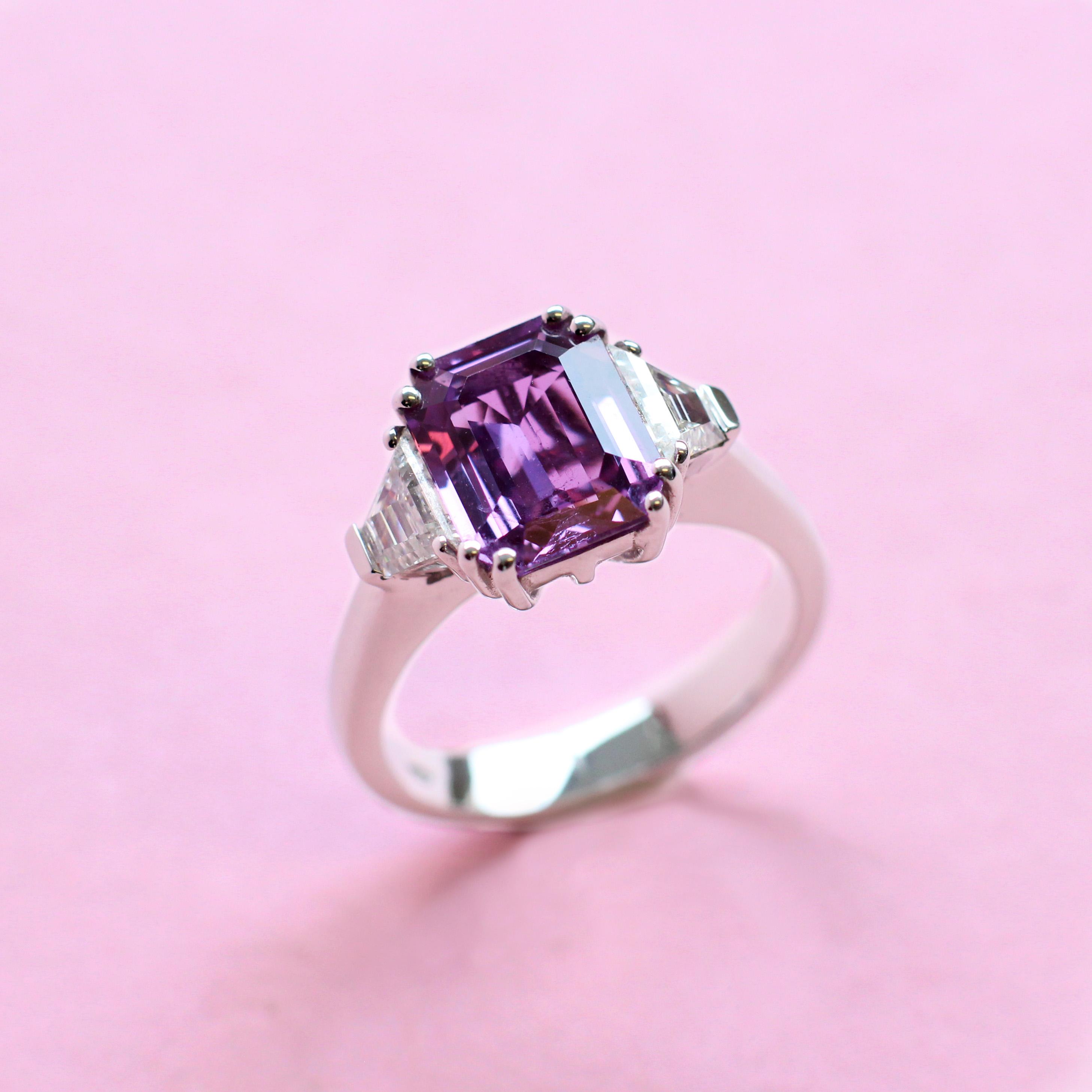 octagon purple no heat sapphire and diamond ring