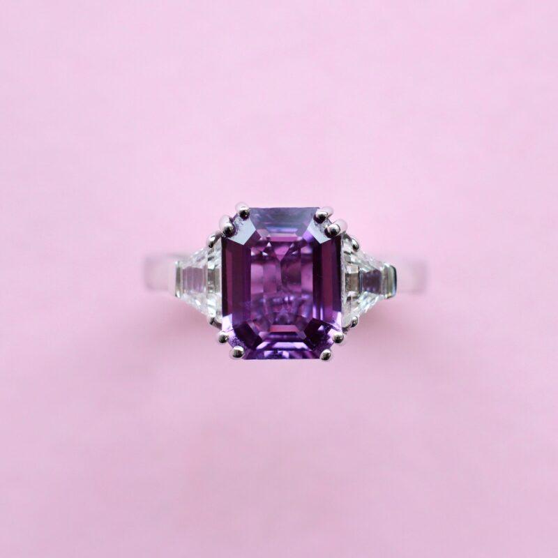 breathtaking purple sapphire and diamond white gold ring