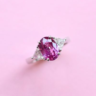 pink sapphire and white diamond ring