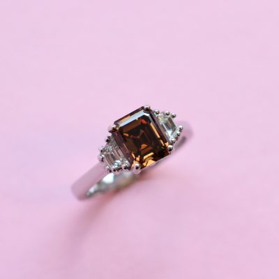 brown diamond ring with white diamond side stones