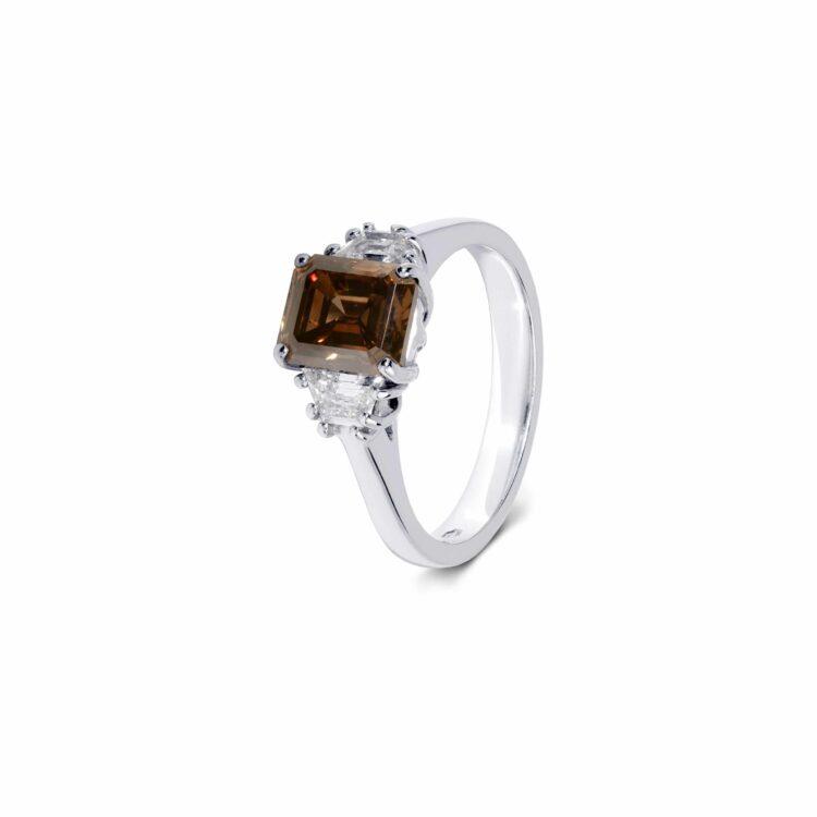 brown diamond ring with white diamond side stones