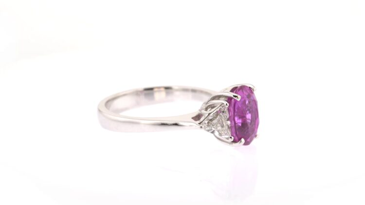 unforgettable pink sapphire and white diamond three-stone ring