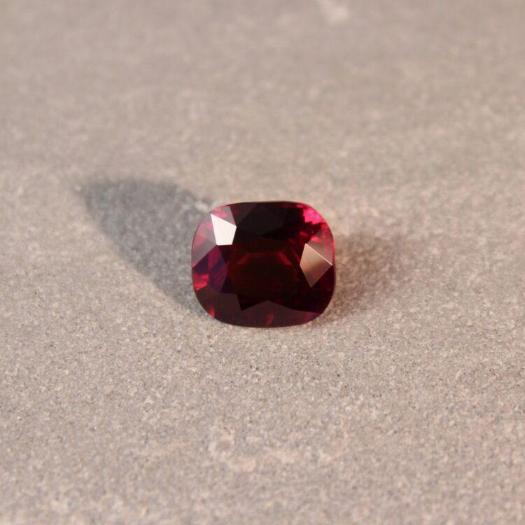 3.27 ct vivid red cushion ruby