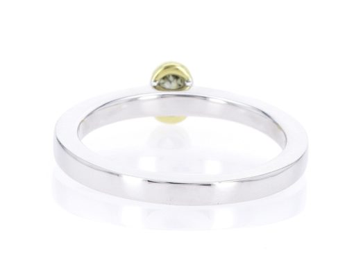 olive oval diamond, white and yellow gold stacking ring