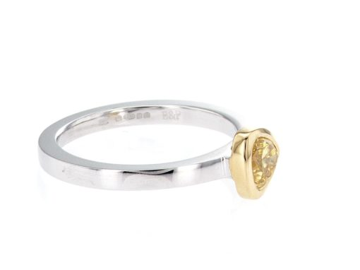 yellow pear shape, white and yellow gold stacking ring