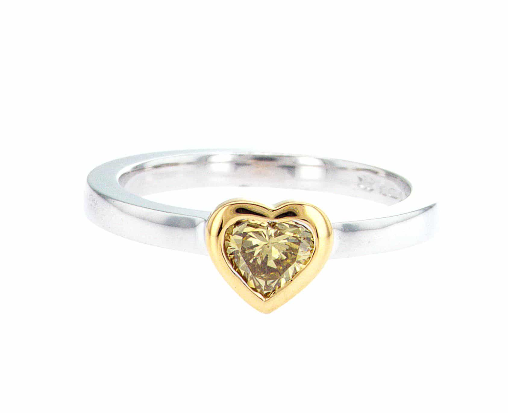 olive heart shape diamond, white and yellow gold stacking ring