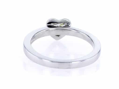 white heart shape diamond and white gold stacking ring