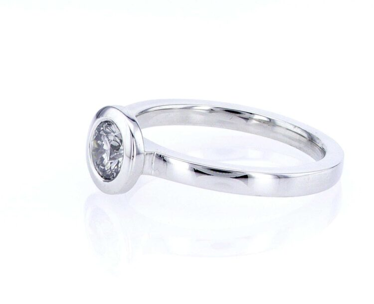 exquisite grey diamond solitaire stacking ring in white gold