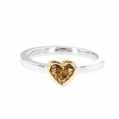sublime yellow heart-shaped diamond stacking ring