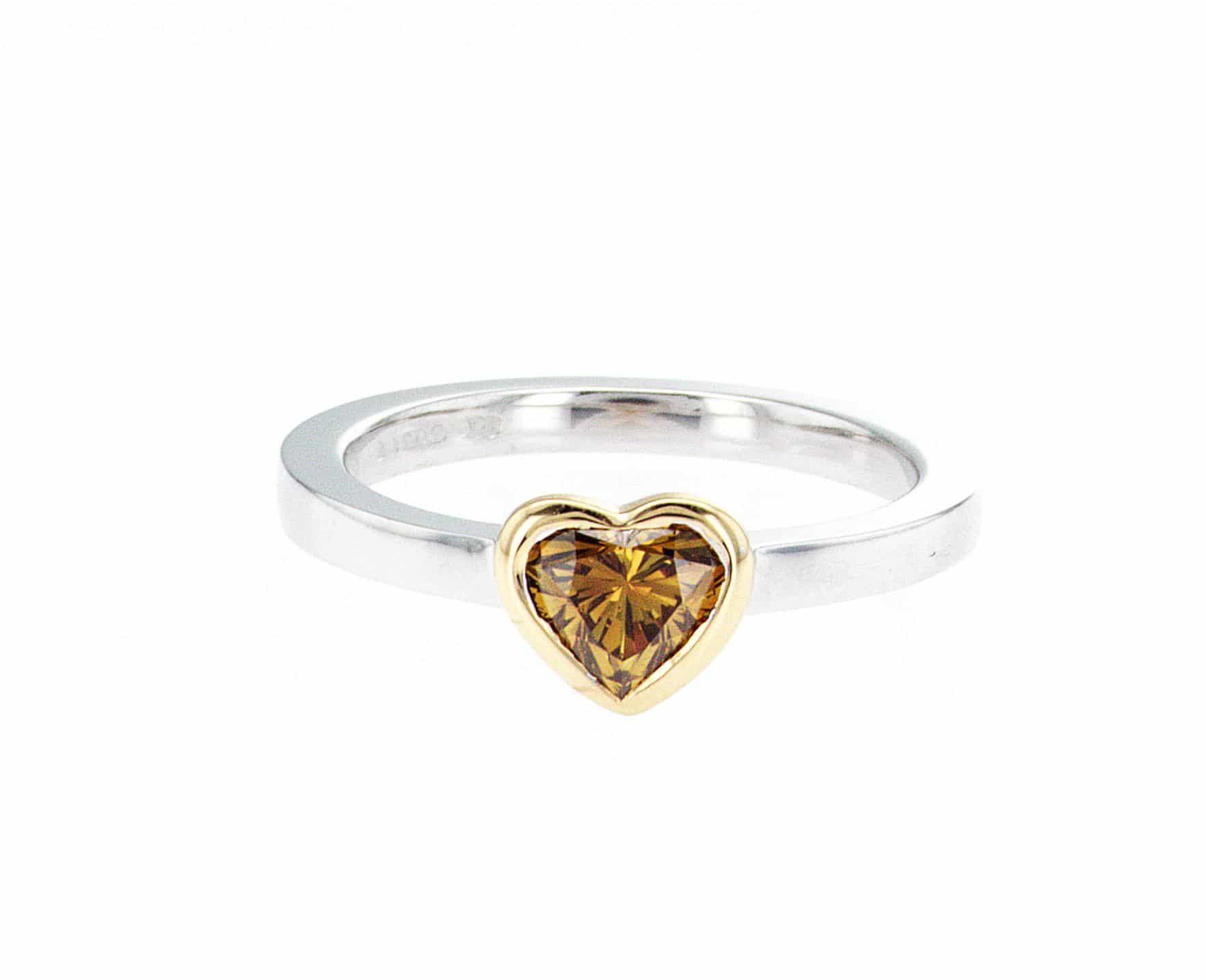 yellow heart shape diamond, white and yellow gold stacking ring