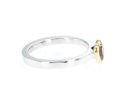 yellow heart shape diamond, white and yellow gold stacking ring